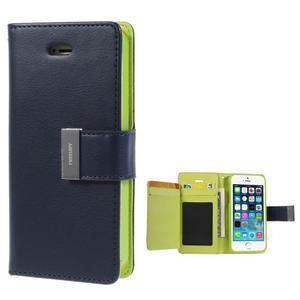 Rich diary PU kožené pouzdro na iPhone SE / 5s / 5 - tmavěmodré - 1