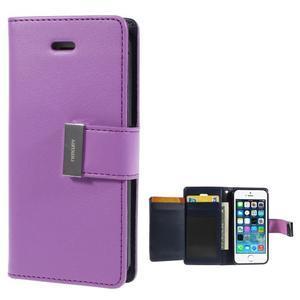 Rich diary PU kožené pouzdro na iPhone SE / 5s / 5 - fialové - 1
