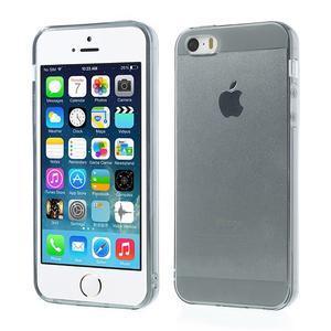 Gelový transparentní obal na iPhone SE / 5s / 5 - šedý - 1