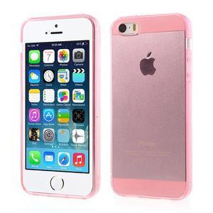 Gelový transparentní obal na iPhone SE / 5s / 5 - růžový - 1