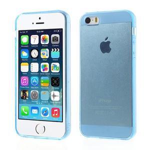 Gélový transparentný obal pre iPhone SE / 5s / 5 - modrý - 1