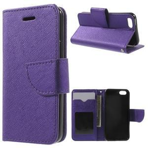 Cross PU kožené pouzdro na iPhone SE / 5s / 5 - fialové - 1