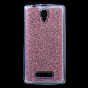 Povrchově třpytivý gelový obal na mobil Lenovo A2010 - rose - 1