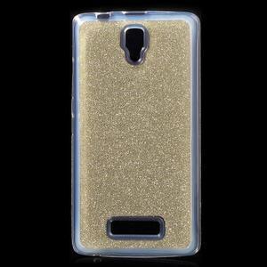 Povrchově třpytivý gelový obal na mobil Lenovo A2010 - zlatý - 1