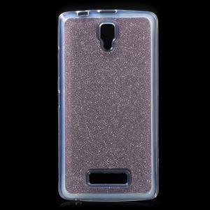 Povrchově třpytivý gelový obal na mobil Lenovo A2010 - fialový - 1