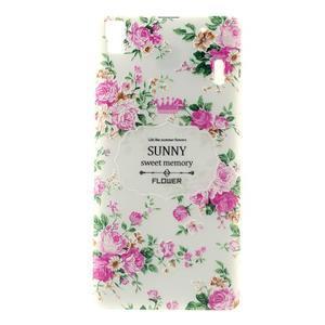 Květinový gelový obal na mobil Lenovo A7000 / K3 Note - bílé pozadí - 1