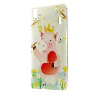Softy gelový obal na mobil Lenovo A7000 / K3 Note - zamilované prasátko - 1