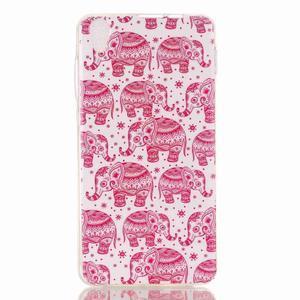 Softy gelový obal na mobil Lenovo S850 - růžoví sloni - 1