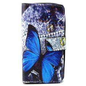 Style peněženkové pouzdro na LG Leon - modrý motýl - 1
