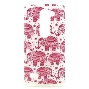 Pictu gelový obal na LG Leon - růžoví sloni - 1