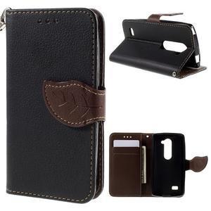 Leaf PU kožené pouzdro na mobil LG Leon - černé - 1