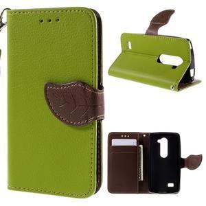 Leaf PU kožené pouzdro na mobil LG Leon - zelené - 1