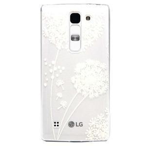 Transparentní gelový obal na LG Spirit - bílá pampeliška - 1