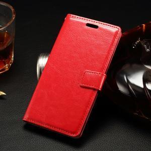 Peněženkové PU kožené pouzdro na LG Spirit - červené - 1