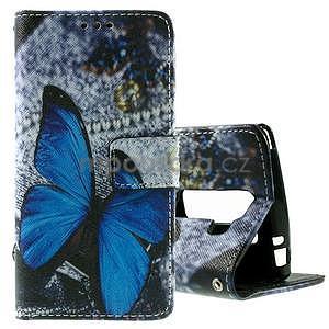 Peněženkové pouzdro na LG Spirit - modrý motýl - 1