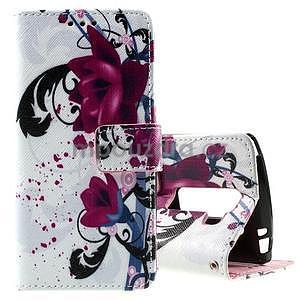 Peněženkové pouzdro na LG Spirit - fialové květy - 1