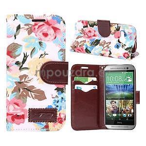 Květinové peněženkové pouzdro na HTC One Mini 2 - bílé - 1