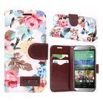 Květinové peněženkové pouzdro na HTC One Mini 2 - bílé - 1/5
