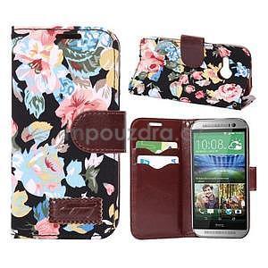 Květinové peněženkové pouzdro na HTC One Mini 2 - černé - 1