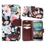 Květinové peněženkové pouzdro na HTC One Mini 2 - černé - 1/5