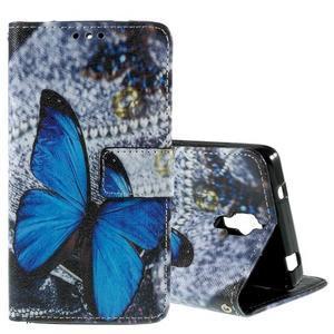 Cross peněženkové pouzdro na Xiaomi Mi4 - modrý motýl - 1