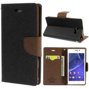 Mr. Goos peněženkové pouzdro na Sony Xperia M2 - černé/hnědé - 1
