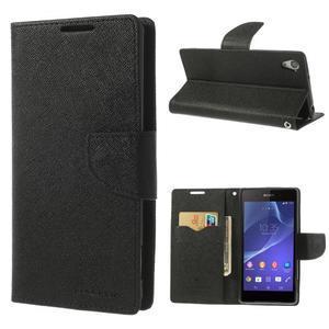 Fancy peněženkové pouzdro na Sony Xperia Z2 - černé - 1