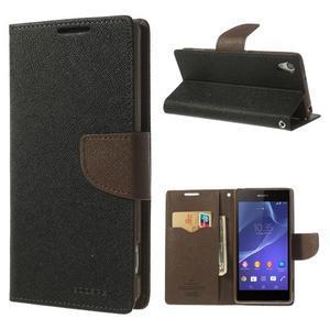 Fancy peněženkové pouzdro na Sony Xperia Z2 - černé/hnědé - 1