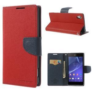 Fancy peněženkové pouzdro na Sony Xperia Z2 - červené - 1