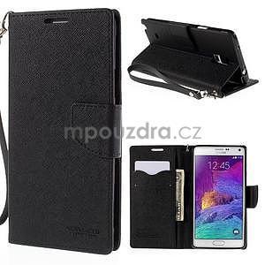 Stylové peněženkové pouzdro na Samsnug Galaxy Note 4 - černé - 1