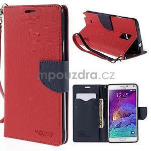 Stylové peněženkové pouzdro na Samsnug Galaxy Note 4 - červené - 1