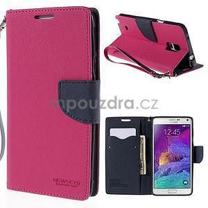 Stylové peněženkové pouzdro na Samsnug Galaxy Note 4 - rose - 1