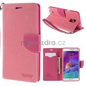 Stylové peněženkové pouzdro na Samsnug Galaxy Note 4 - růžové - 1