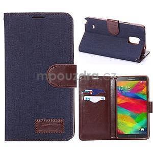 Jeans peněženkové pouzdro pro Samsung Galaxy Note 4 - tmavě modré - 1