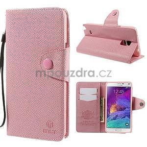 Zapínací peněženkové poudzro Samsung Galaxy Note 4 - růžové - 1