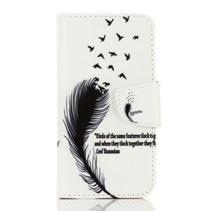 Rich PU kožené pouzdro na mobil Samsung Galaxy A3 (2016) - ptačí peříčko - 1