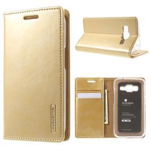Moon PU kožené pouzdro na mobil Samsung Galaxy Core Prime - zlaté - 1