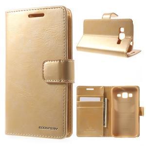 Moonleather PU kožené pouzdro na Samsung Galaxy Core Prime - zlaté - 1