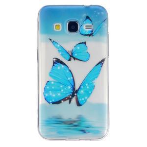 Transparentní gelový obal na Samsung Galaxy Core Prime - modří motýlci - 1
