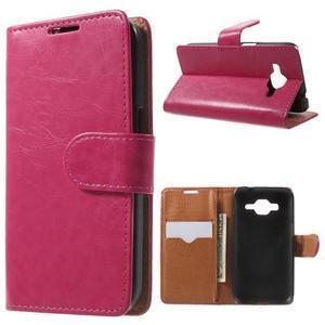 Horse PU kožené pouzdro na mobil Samsung Galaxy Core Prime - rose - 1