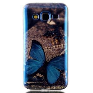 Bluray gelový obal s odlesky na Samsung Galaxy Core Prime - modrý motýl - 1