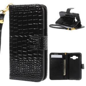 Croco peněženkové pouzdro na Samsung Galaxy Core Prime - černé - 1