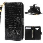 Croco peněženkové pouzdro na Samsung Galaxy Core Prime - černé - 1/7