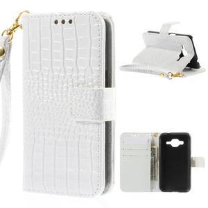 Croco peněženkové pouzdro na Samsung Galaxy Core Prime - bílé - 1