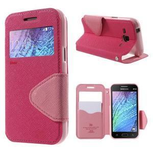 PU kožené pouzdro s okýnkem Samsung Galaxy J1 - rose/růžové - 1