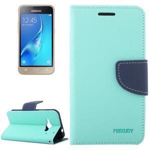 Diary PU kožené pouzdro na Samsung Galaxy J1 (2016) - azurové - 1