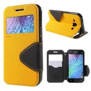 PU kožené pouzdro s okýnkem Samsung Galaxy J1 - žluté/černé - 1