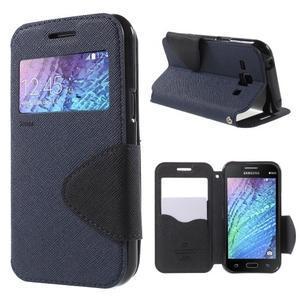 PU kožené pouzdro s okýnkem Samsung Galaxy J1 - tmavě modré/černé - 1