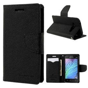 Černé PU kožené pouzdro na Samsung Galaxy J1 - 1