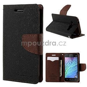 Černé/hnědé PU kožené pouzdro na Samsung Galaxy J1 - 1